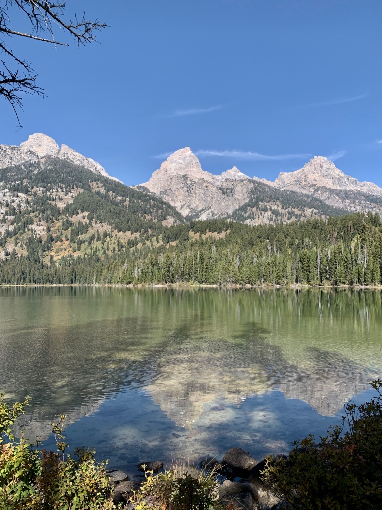 Tetons reflecting against the Lake Taggart